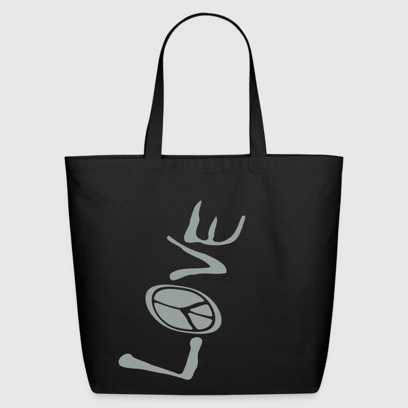 Black Big Love And Peace Upside Down, 1 Color Bags  - Eco-Friendly Cotton Tote