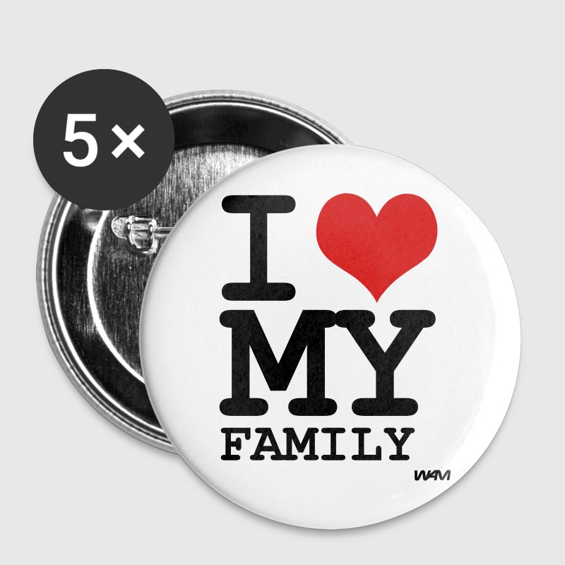 White i love my family by wam Buttons - Large Buttons
