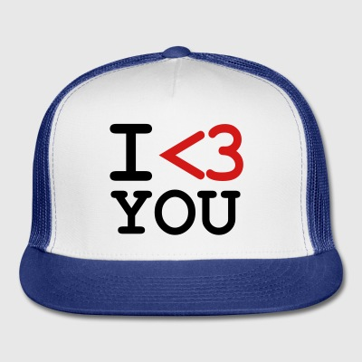 White i love you Buttons - Trucker Cap