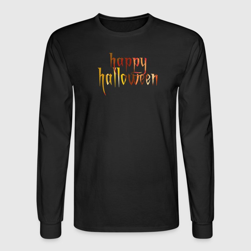Black HAPPY HALLOWEEN Long Sleeve Shirts - Men's Long Sleeve T-Shirt