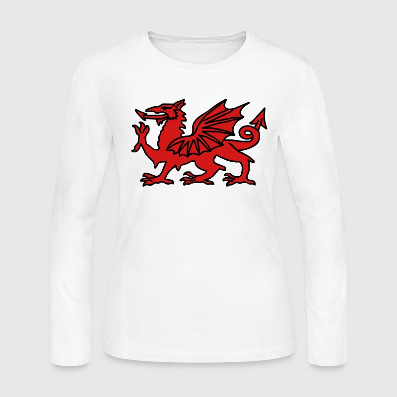 White Welsh Dragon Long Sleeve Shirts - Women's Long Sleeve Jersey T-Shirt