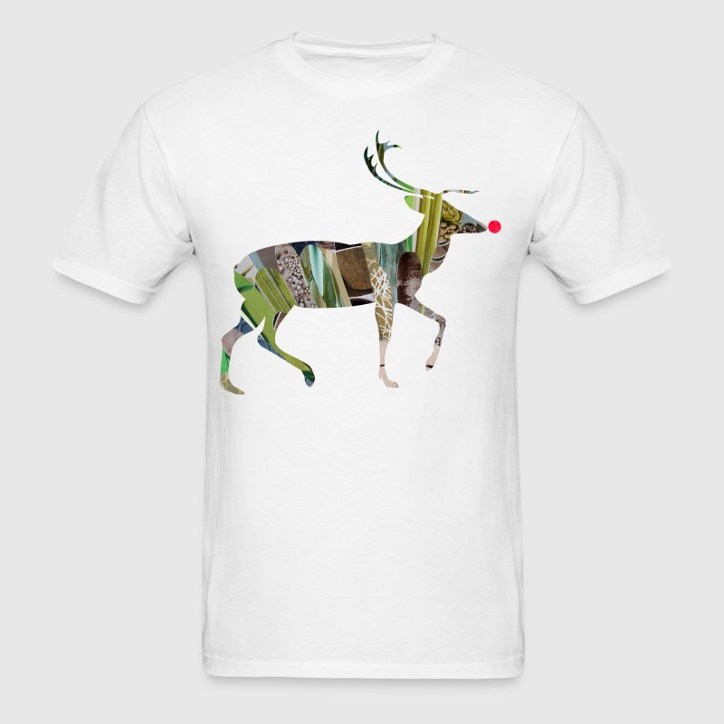 White collage art REINDEER Kids' Shirts - Men's T-Shirt