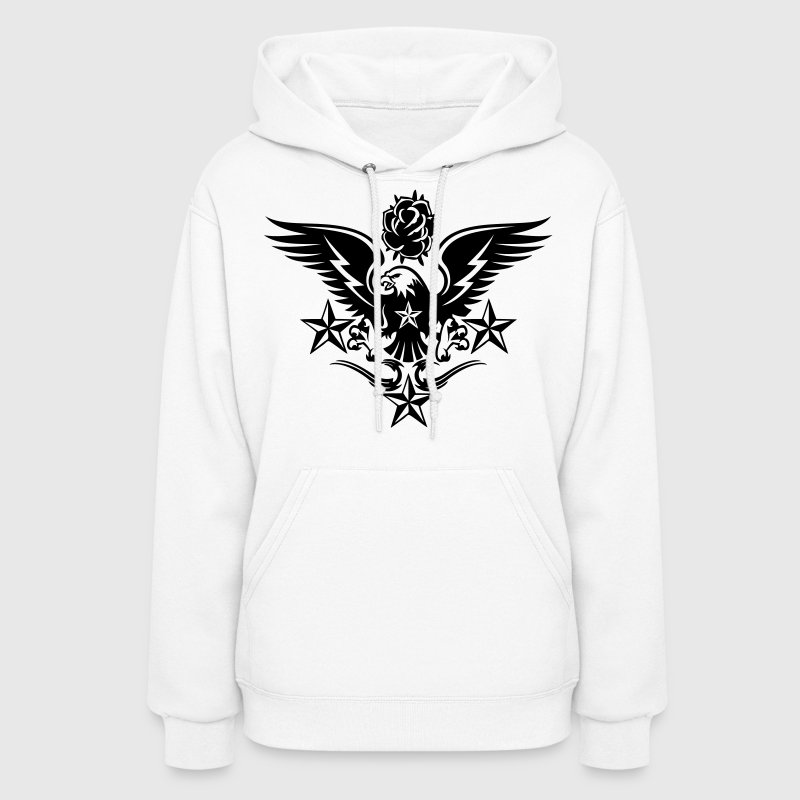 White Eagle,Rose,and Nautical Star Lightning Tattoo Hoodies - Women's Hoodie