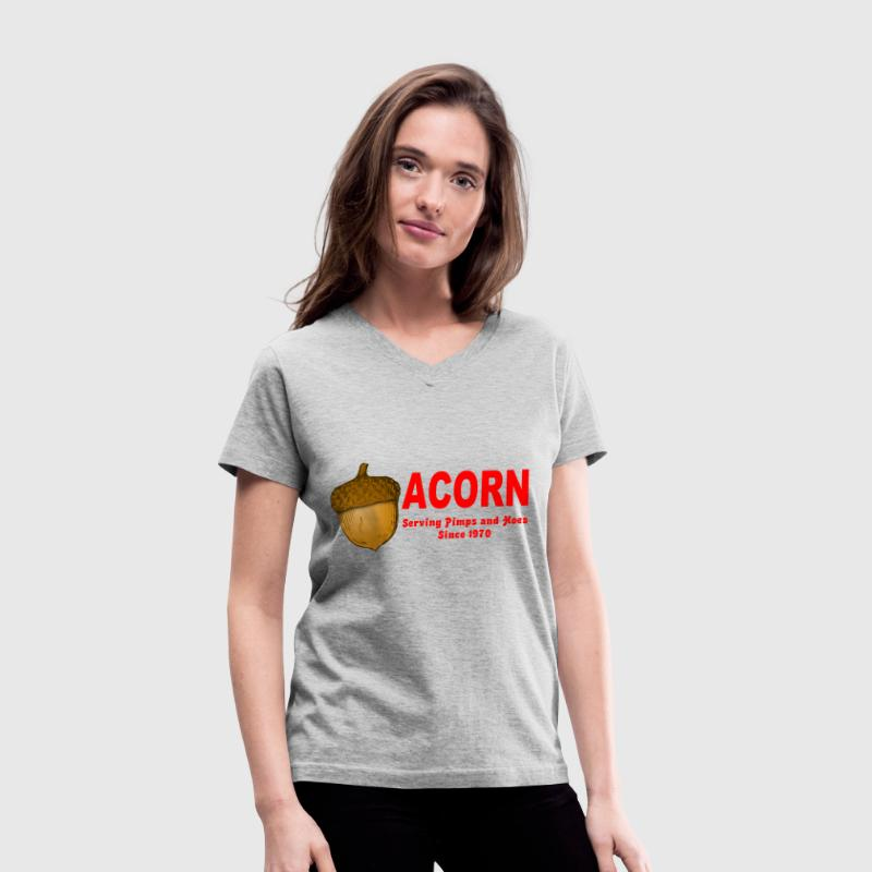 Gray Acorn Serving Pimps and Hoes Since 1970 Women's T-Shirts - Women's V-Neck T-Shirt