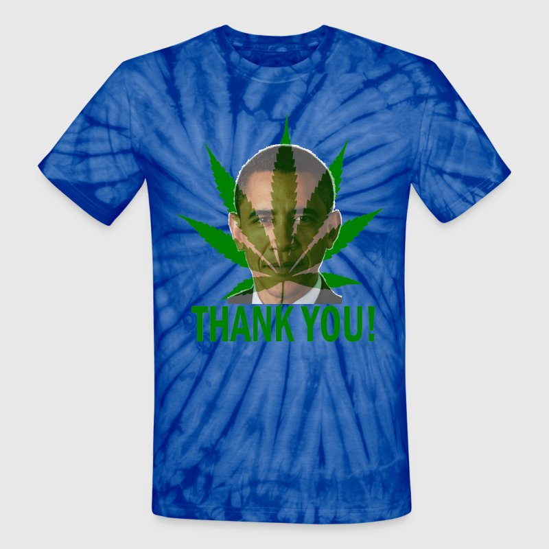 Spider baby blue Thank You Obama Medical Marijuana T-Shirts - Unisex Tie Dye T-Shirt