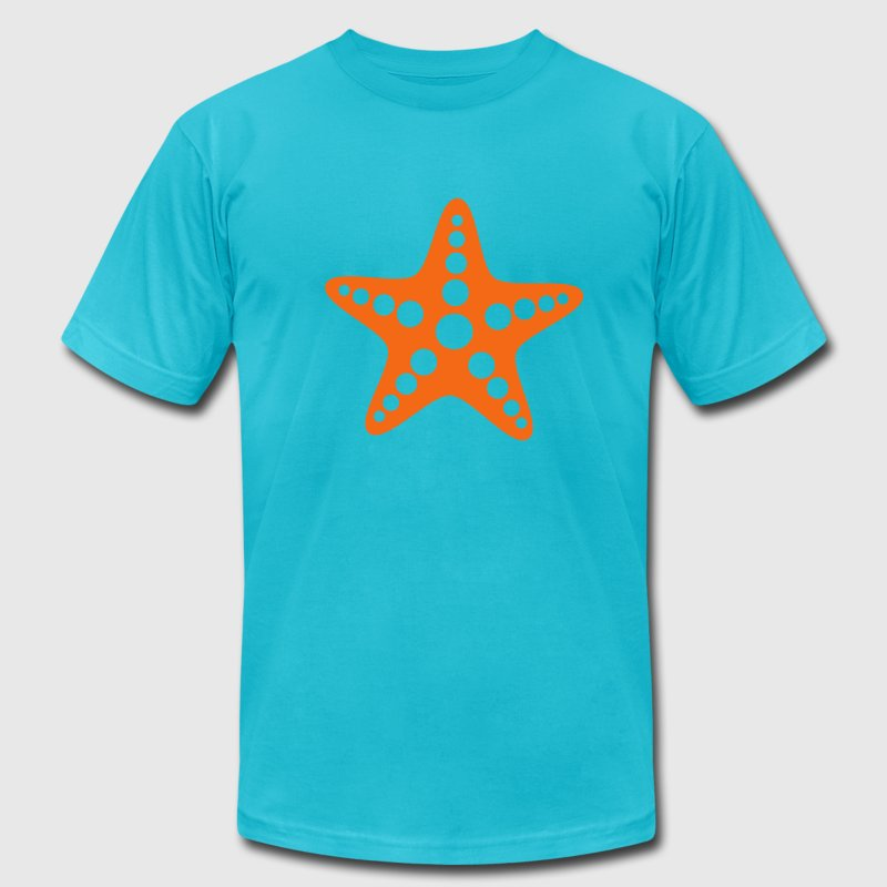 Turquoise Starfish T-Shirts - Men's T-Shirt by American Apparel
