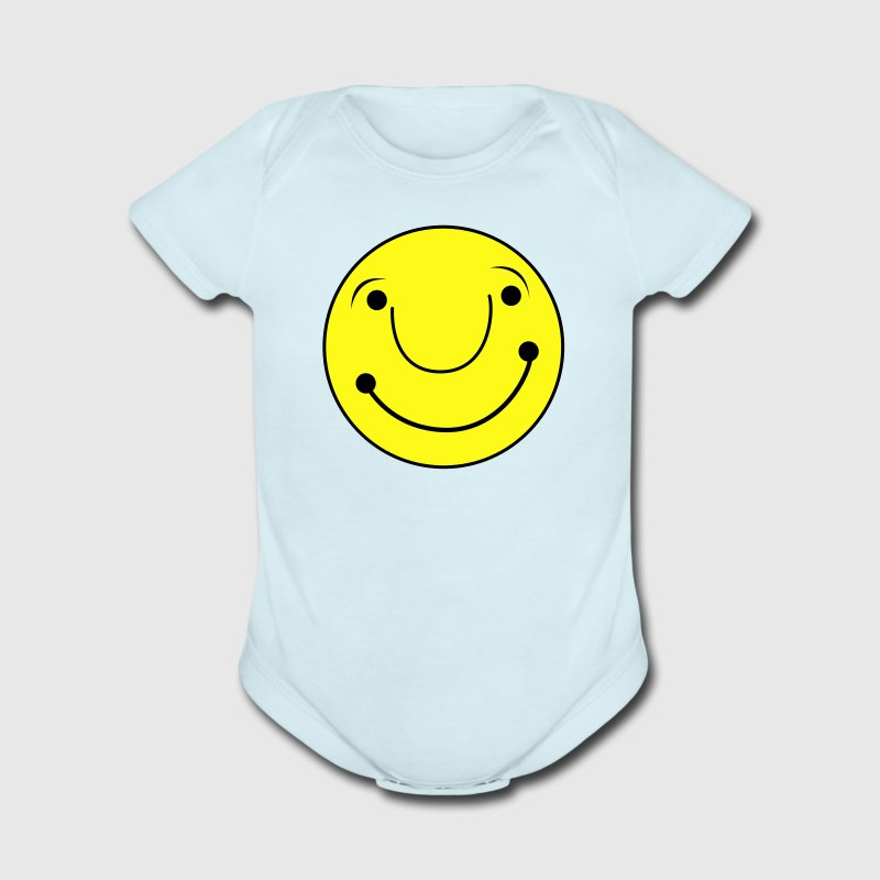 Sky blue cute smiley happy face Baby Body - Short Sleeve Baby Bodysuit