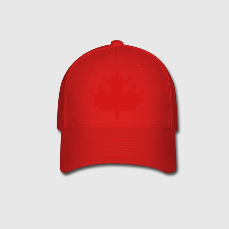 Red Pixel Maple Leaf Caps - Baseball Cap