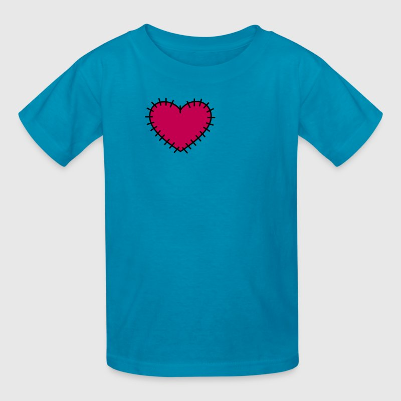 Hot pink love heart with stitches Kids' Shirts - Kids' T-Shirt