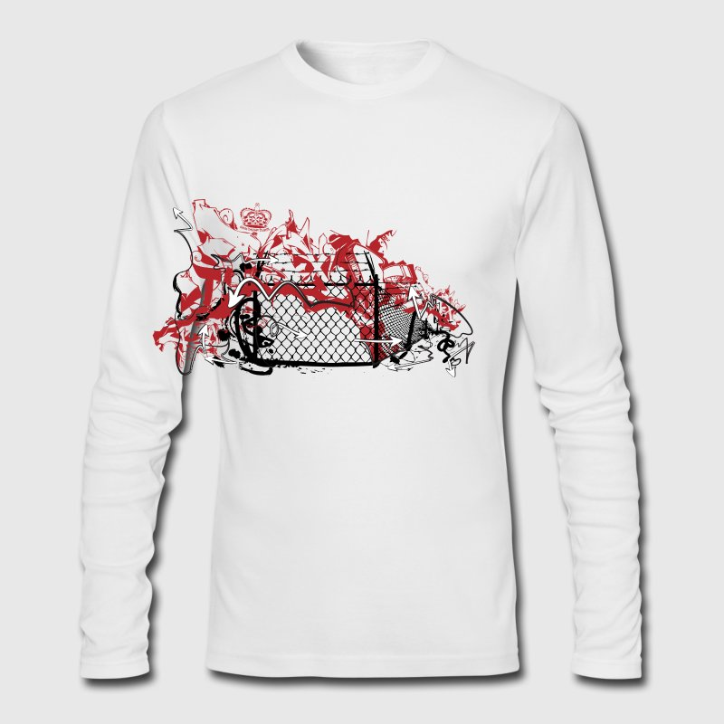 White cool designer graffiti fence art Long Sleeve Shirts - Men's Long Sleeve T-Shirt by Next Level