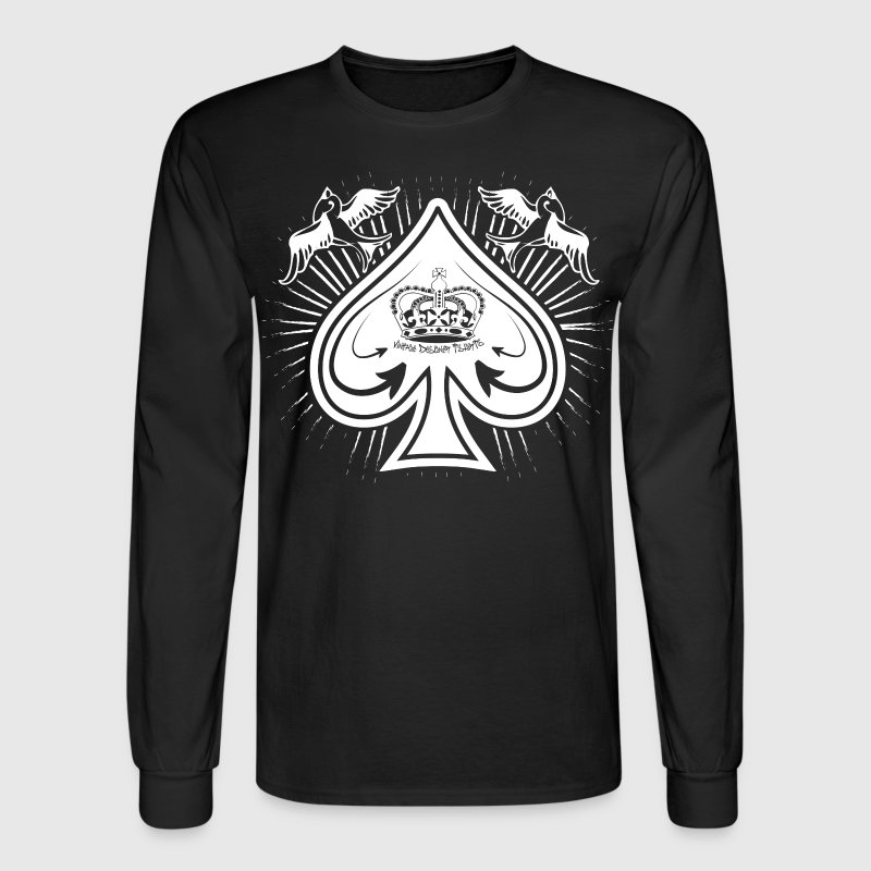 Black Destroyed Card Spades and Birds Logo Long Sleeve Shirts - Men's Long Sleeve T-Shirt