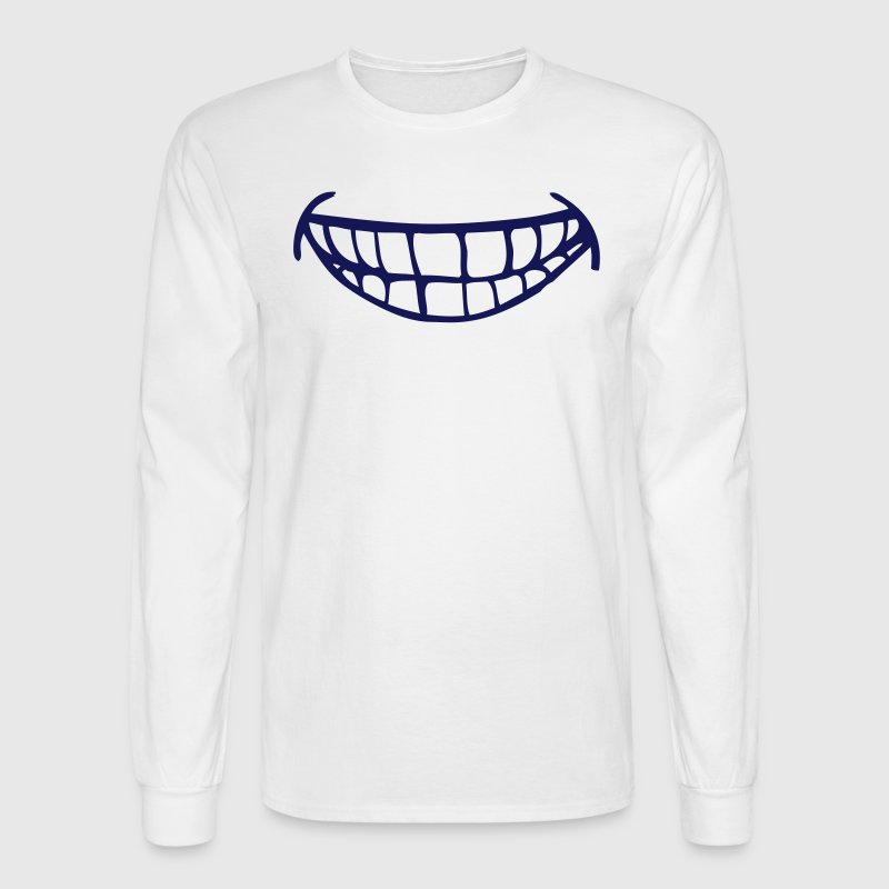 White cheesy smile with teeth Long Sleeve Shirts - Men's Long Sleeve T-Shirt