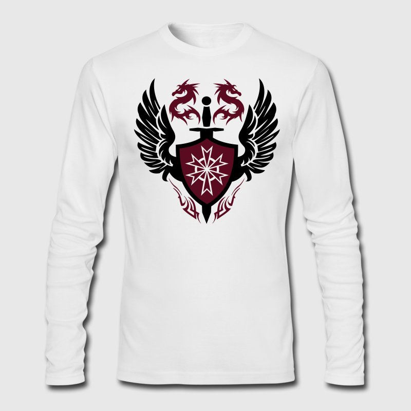 White warrior shield and dragon crest Long Sleeve Shirts - Men's Long Sleeve T-Shirt by Next Level