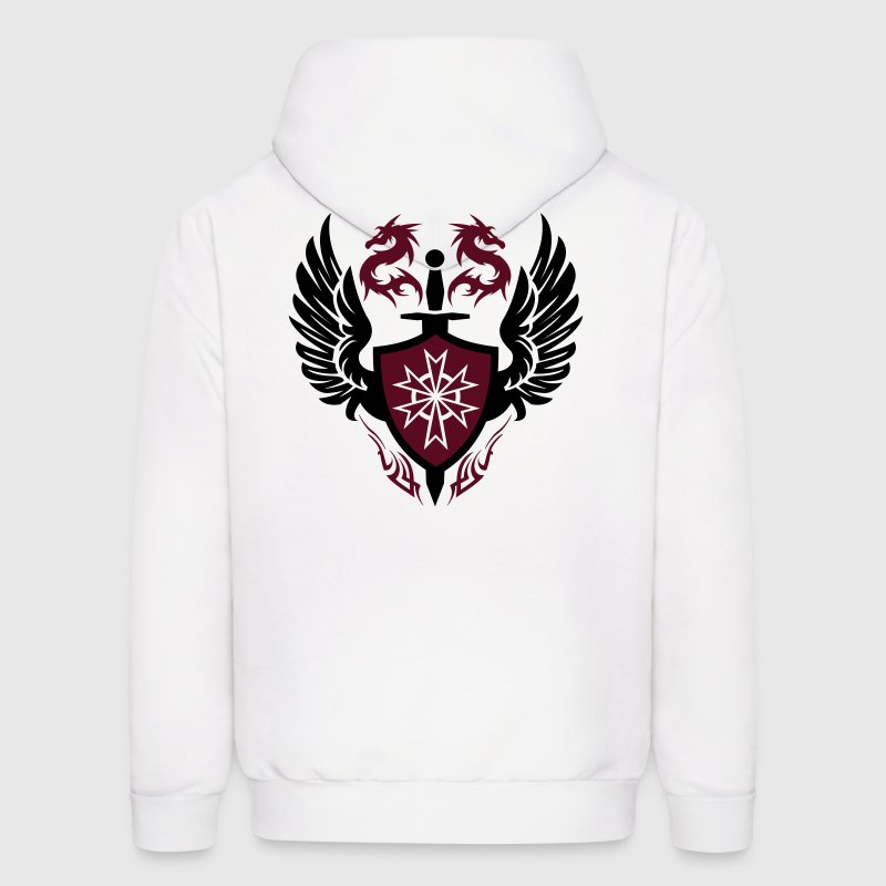 White warrior shield and dragon crest Hoodies - Men's Hoodie
