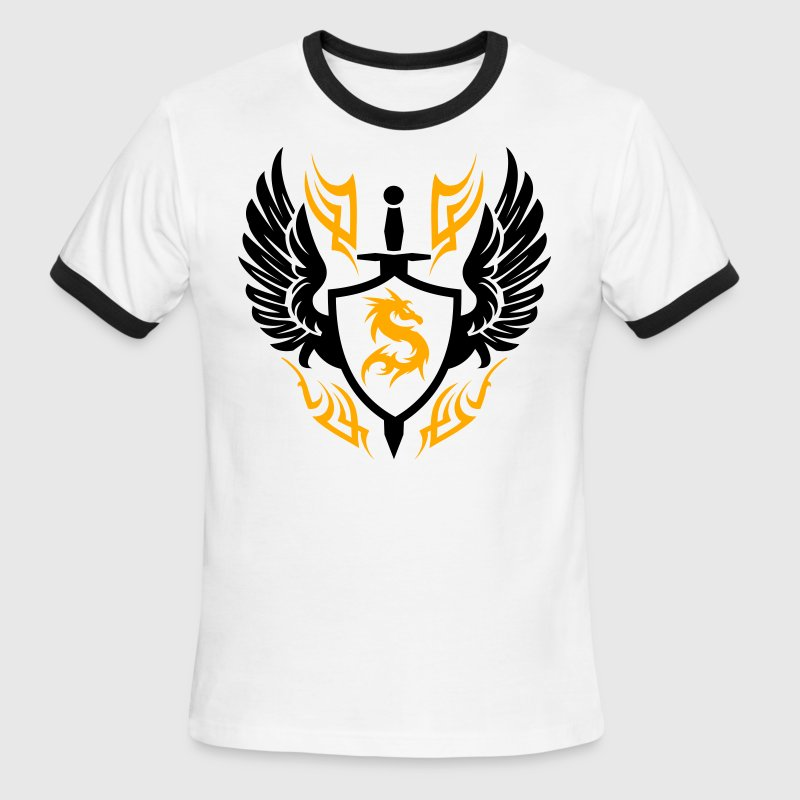 White/black Cool warrior shield Design 1 T-Shirts - Men's Ringer T-Shirt