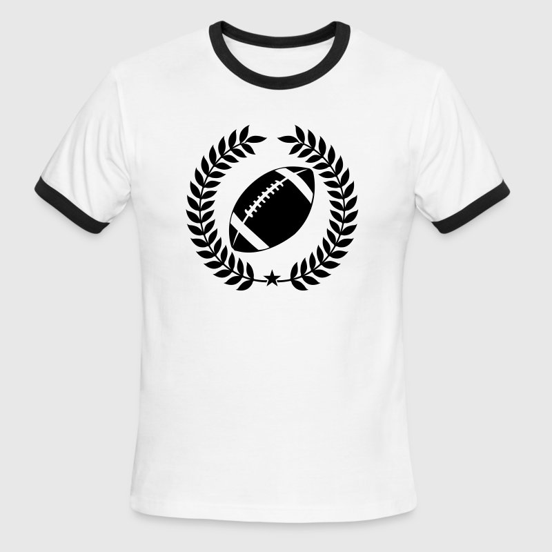 White/black Cool Football Graphic T-Shirts - Men's Ringer T-Shirt