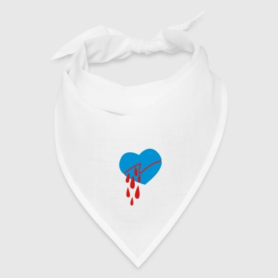 Creme bleeding love heart cut into two Bags  - Bandana