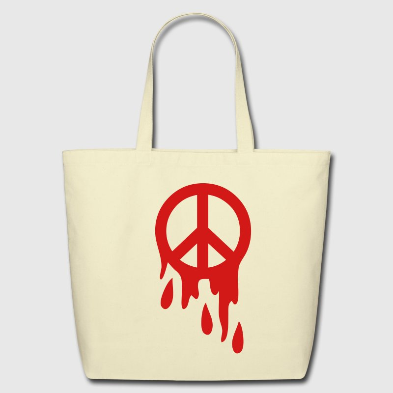 Creme peace sign dripping blood Bags  - Eco-Friendly Cotton Tote