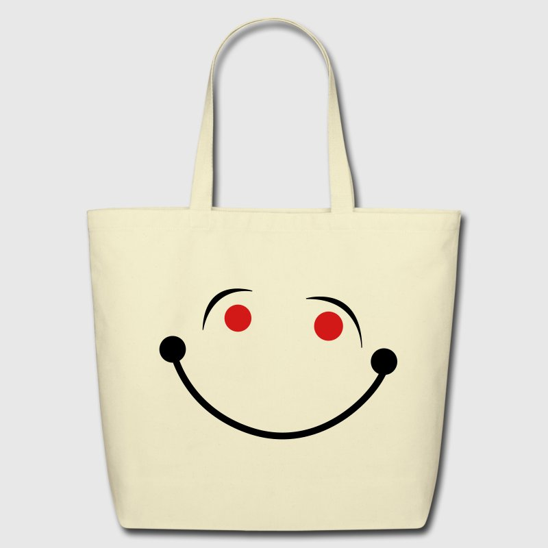 Creme smiling smiley face big smile Bags  - Eco-Friendly Cotton Tote