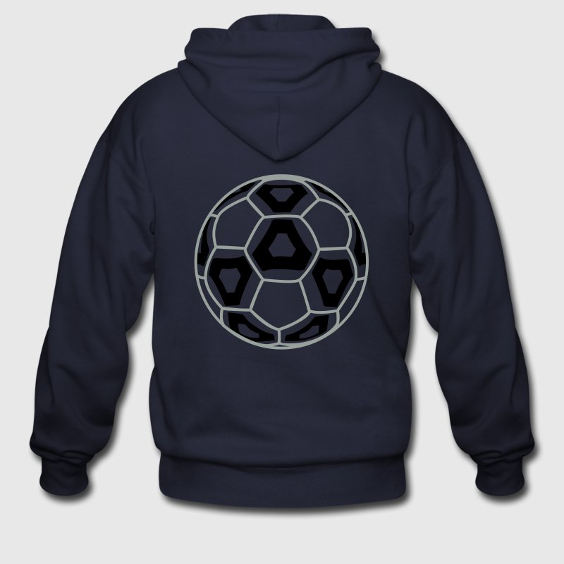 Ash  Professional Team Soccer Ball Zip Hoodies/Jackets - Men's Zip Hoodie