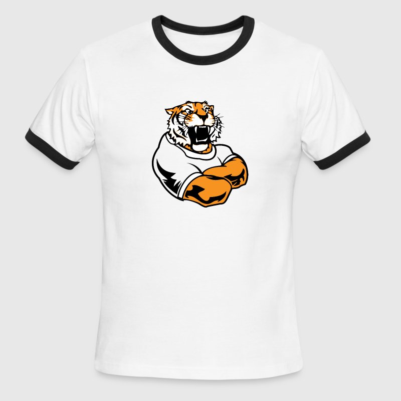 Red/white Cool Custom Tiger Macot T-Shirts - Men's Ringer T-Shirt