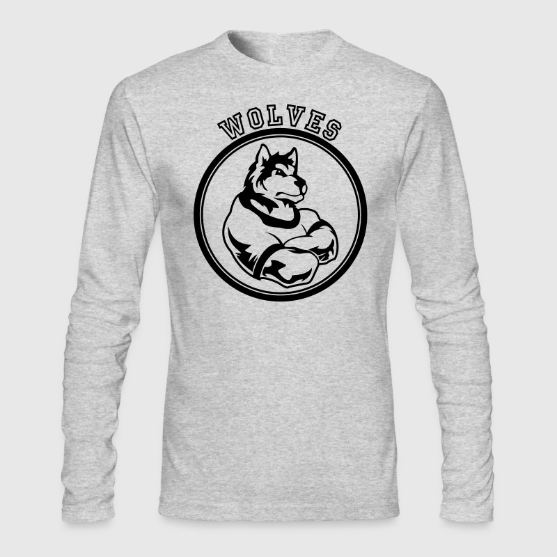 Kelly green Wolf or wolves Custom Teams Graphic Long Sleeve Shirts - Men's Long Sleeve T-Shirt by Next Level