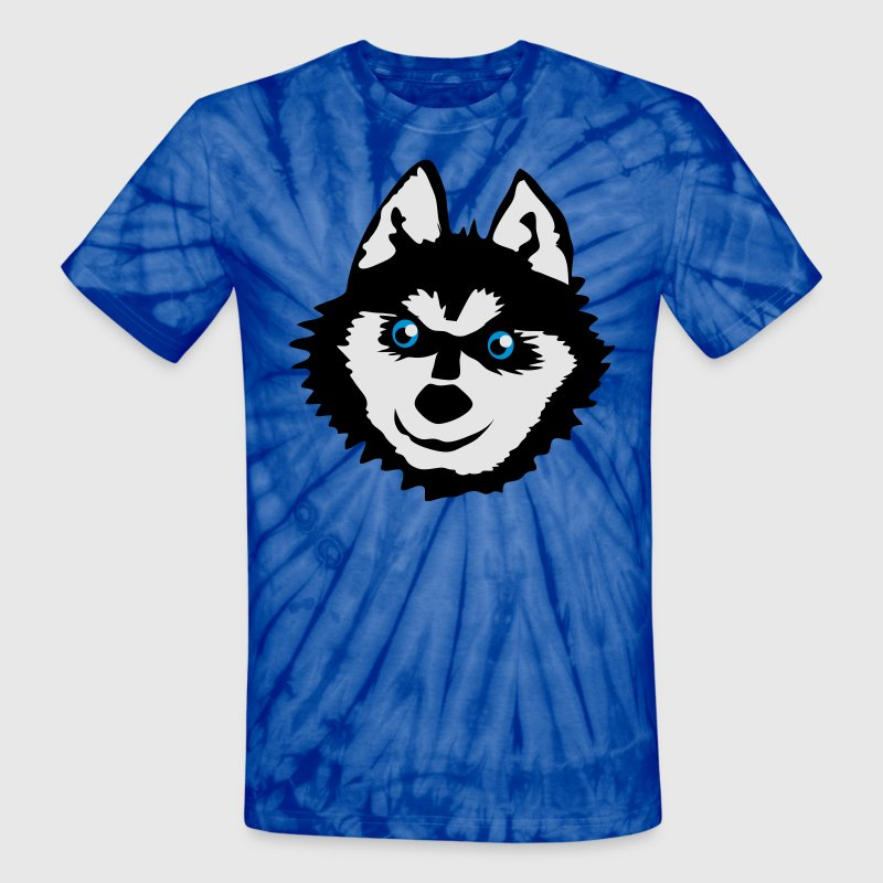 Spider red Siberian husky face with a huge smile cute! T-Shirts - Unisex Tie Dye T-Shirt
