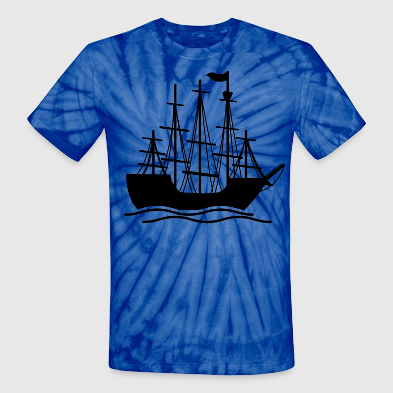 Spider baby blue pirate ship on the ocean waves T-Shirts - Unisex Tie Dye T-Shirt