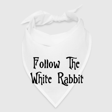 White Follow The White Rabbit Alice in Wonderland Buttons - Bandana