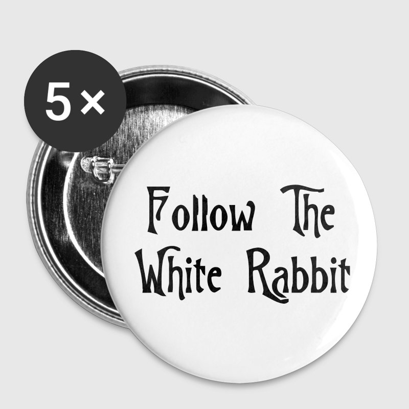 White Follow The White Rabbit Alice in Wonderland Buttons - Large Buttons
