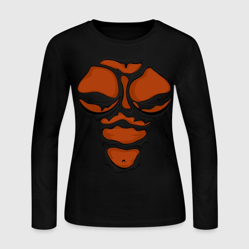 Ripped Muscles Female, chest T-shirt, comicbook breasts - Women's Long Sleeve Jersey T-Shirt