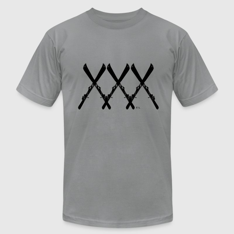 Slate XXX Ski T-Shirts - Men's T-Shirt by American Apparel