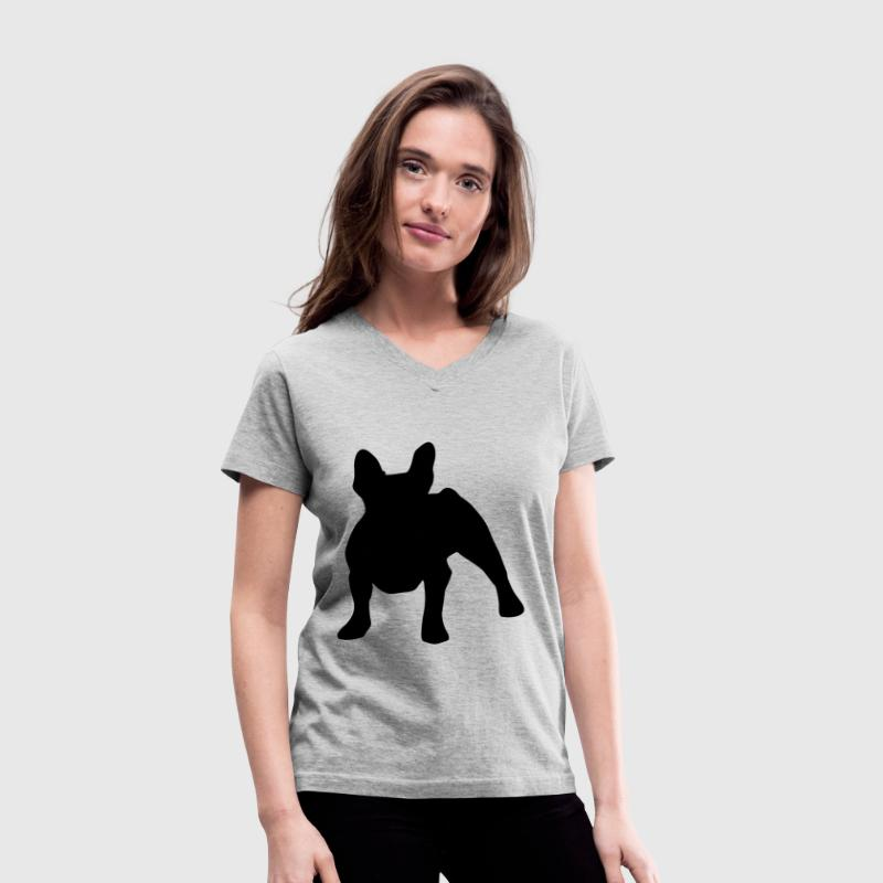 French Bulldog Silhouette - Women's V-Neck T-Shirt