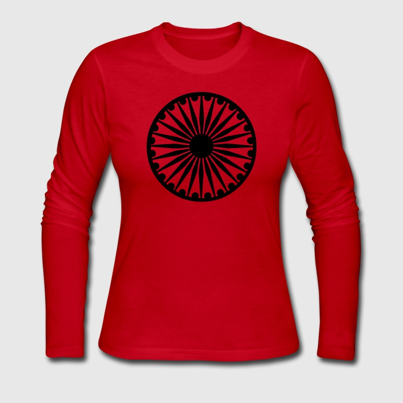 Red Ashoka Chakra Long Sleeve Shirts - Women's Long Sleeve Jersey T-Shirt