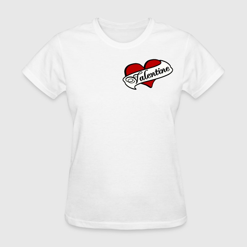White Valentine Tatoo Red Heart With Banner--DIGITAL DIRECT PRINT Women's T-Shirts - Women's T-Shirt