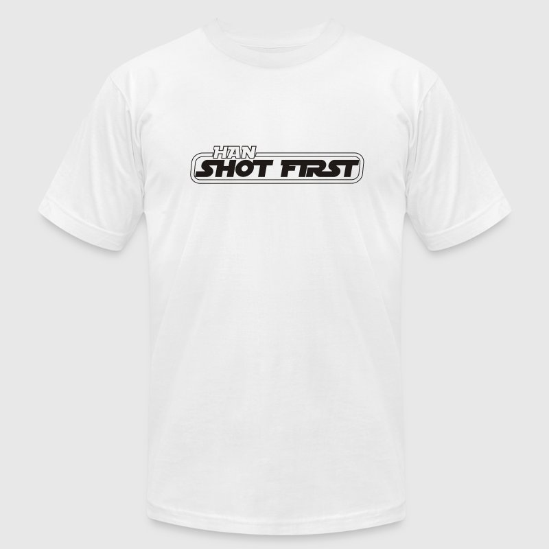 White Han shot first T-Shirts - Men's T-Shirt by American Apparel