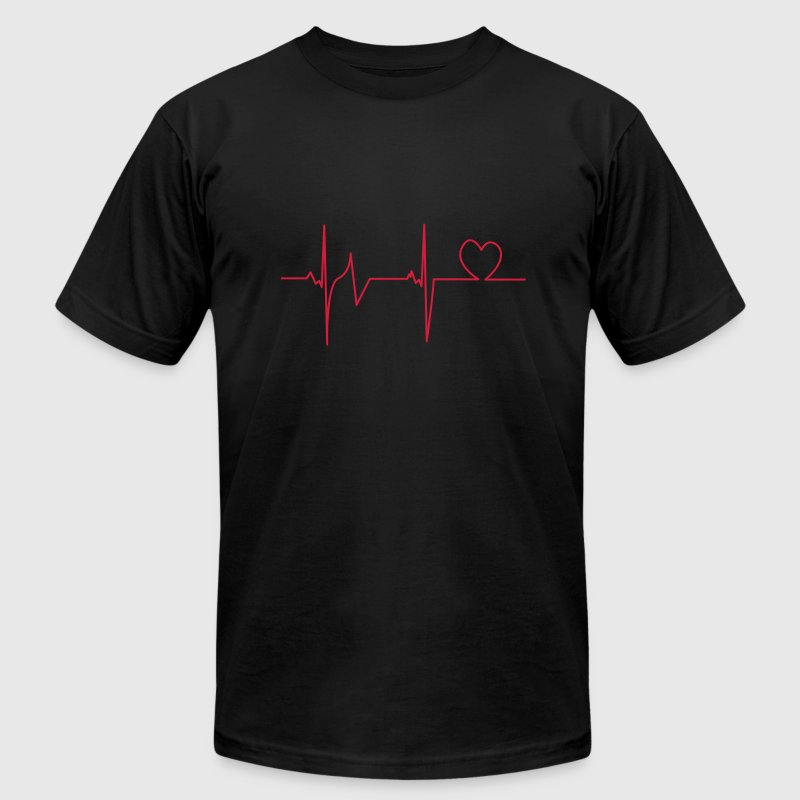 Black Heartbeat T-Shirts - Men's T-Shirt by American Apparel