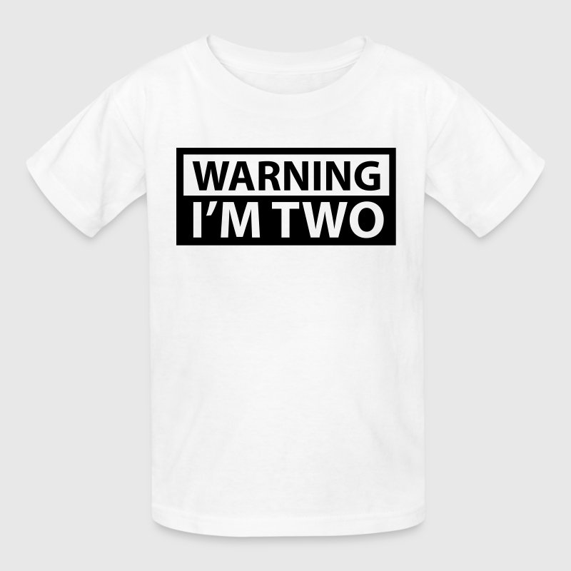White Warning I'm Two Kids' Shirts - Kids' T-Shirt