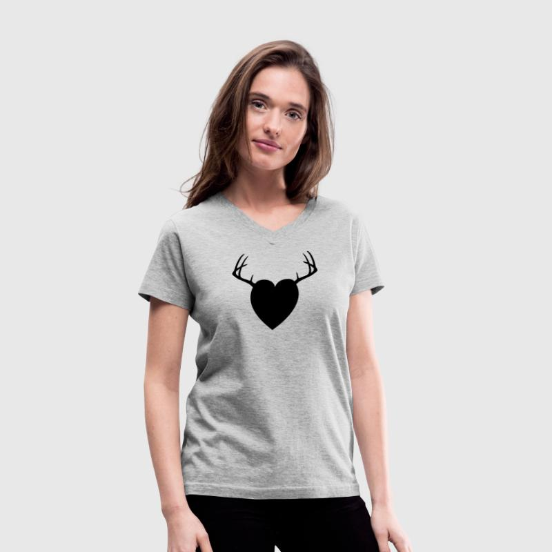 Gray HEART ANTLERS Women's T-Shirts - Women's V-Neck T-Shirt