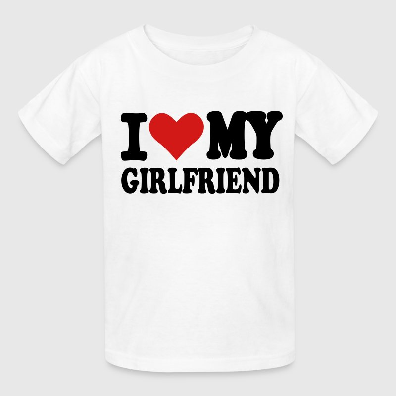 White I love my girlfriend Kids' Shirts - Kids' T-Shirt