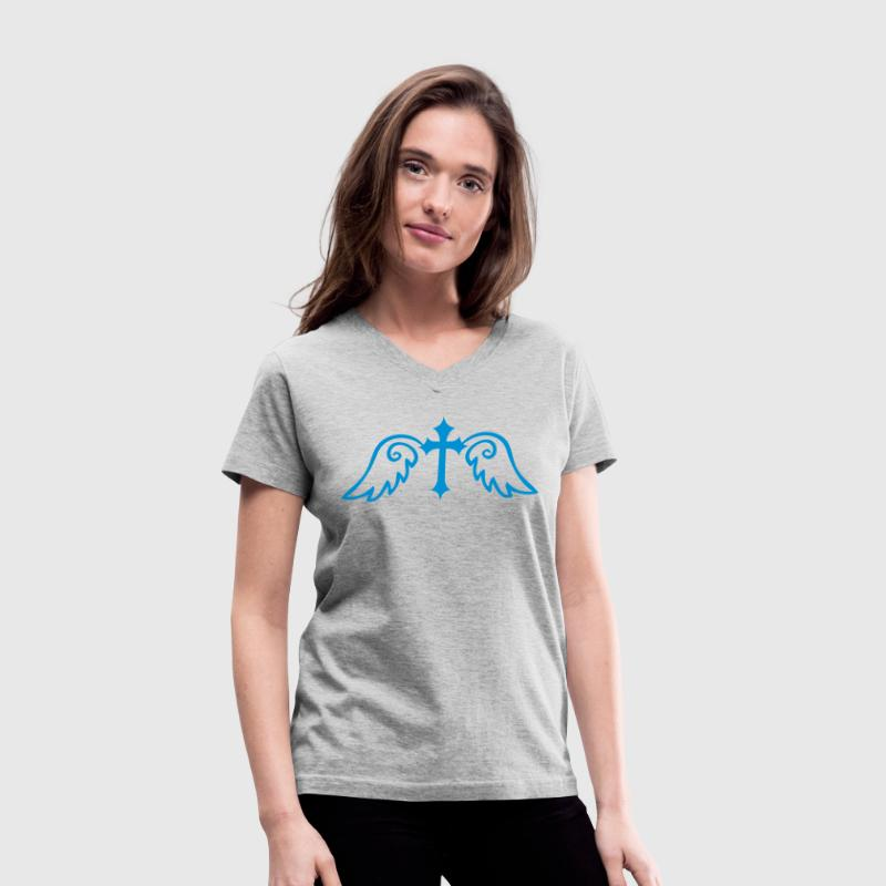 Gray gothic cross with angel wings Women's T-Shirts - Women's V-Neck T-Shirt
