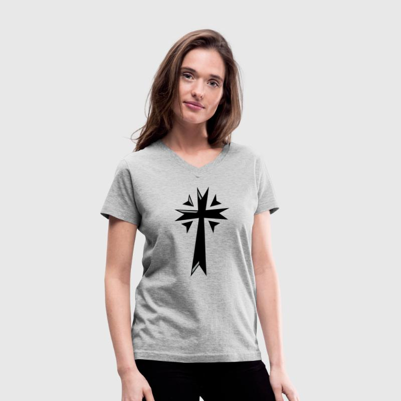 Gray sharp fancy cross Women's T-Shirts - Women's V-Neck T-Shirt
