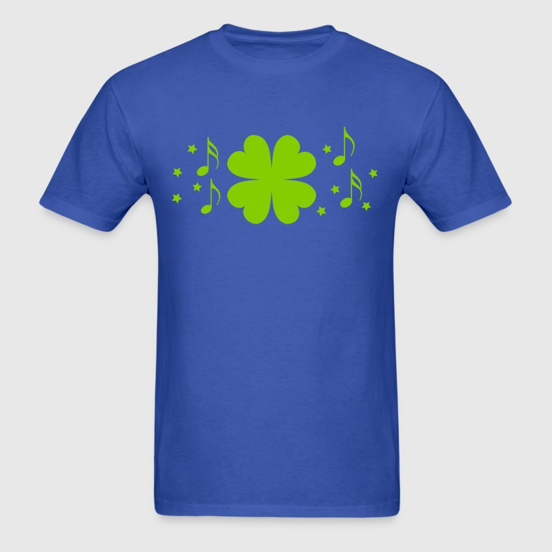 Royal blue St Patricks day four leaf clover with stars and musical notes T-Shirts - Men's T-Shirt