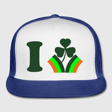 White i heart ireland with rainbow flag St Patricks Day Tribute Buttons - Trucker Cap