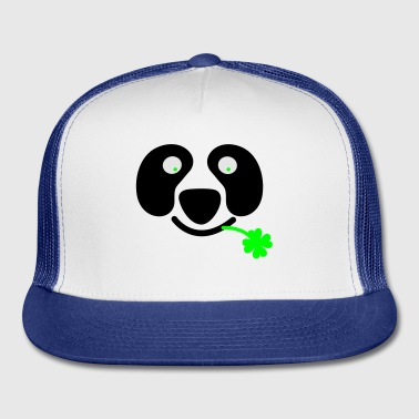 White cute irish panda with clover leaf St Patricks Day Buttons - Trucker Cap