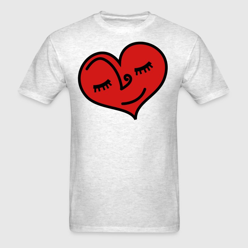 Light oxford love heart sleeping with lovely eyelashes T-Shirts - Men's T-Shirt