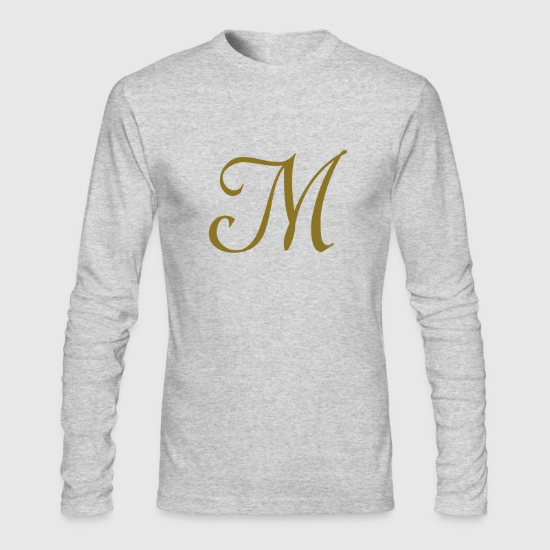 Brown M - Letter Long Sleeve Shirts - Men's Long Sleeve T-Shirt by Next Level