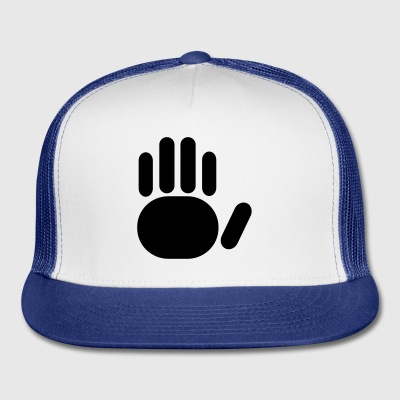 White a really simple hand with five fingers Buttons - Trucker Cap