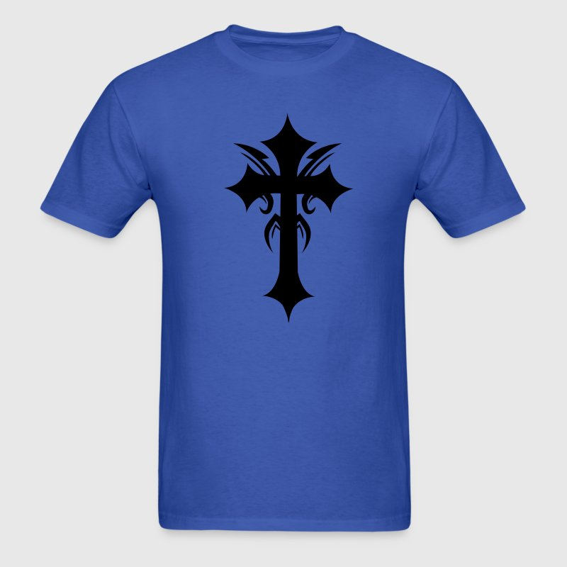 Royal blue embellished funky cool gothic cross T-Shirts - Men's T-Shirt