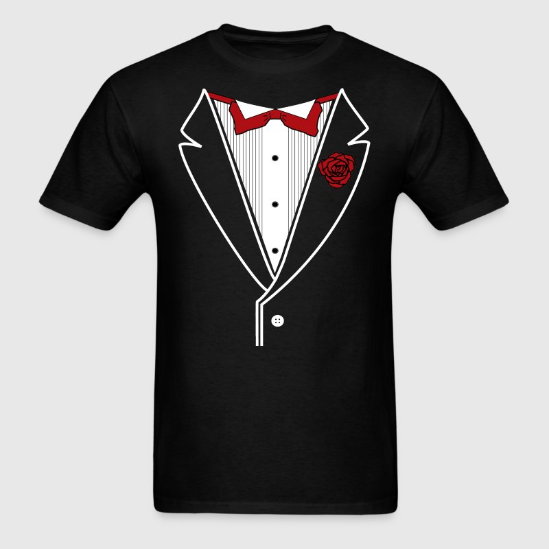 Classic Tuxedo w/ Red Bow Tie - Men's T-Shirt